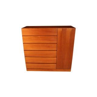 Danish Modern Teak Storage Gents Chest Dresser For Sale