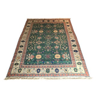 Vintage Mid-Century Green Turkish Soumak Wool Rug - 8′ × 11′ For Sale