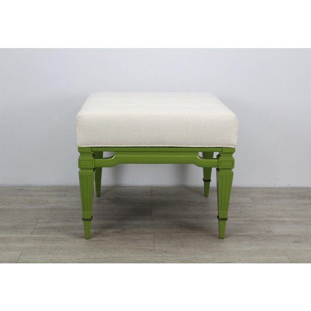 Green Mid-Century Cream Linen Benches, a Pair For Sale - Image 8 of 13