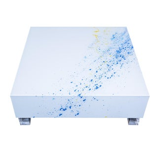 Reverse Painted Lucite Coffee Table For Sale