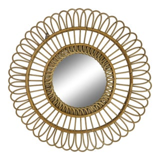French Mid-Century Bamboo Mirror For Sale
