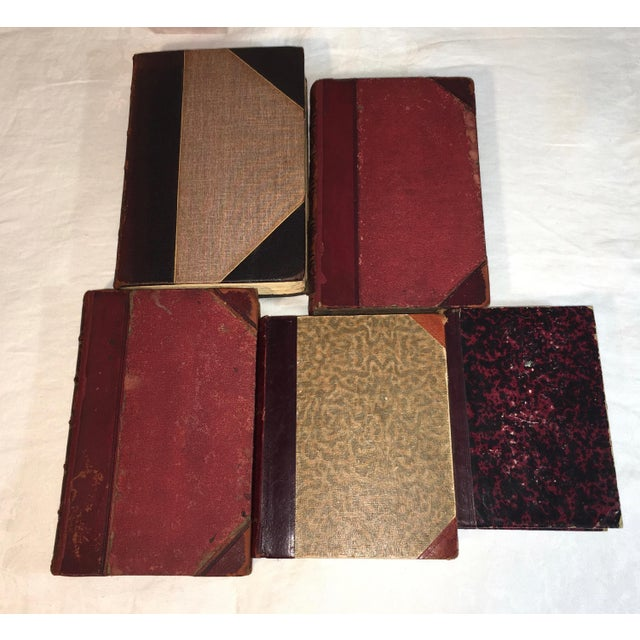 Designer Antique Red Leather Display Books - Set of 5 - Image 4 of 6