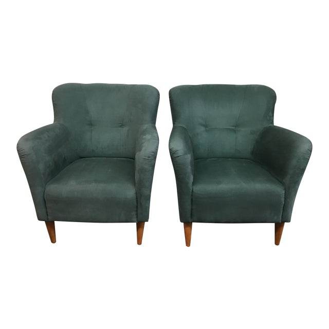 Soderberg Green Micro Fiber Side Chairs - a Pair For Sale