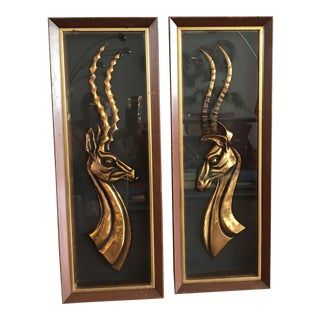 Mid Century Antelope Shadow Box Artwork - a Pair For Sale