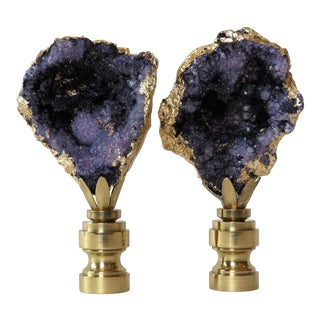Deep Amethyst Geode Finials With 14kt Gold by C. Damien Fox For Sale