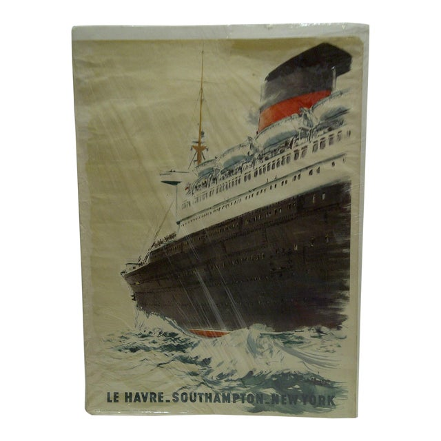 "Image of Circa 1940 Vintage French ""Le Havre"" Ship Poster"