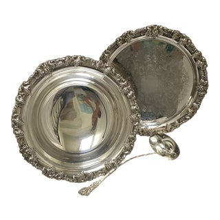 1970s Silver Plate Punch Bowl, Tray and Ladle - 3 Pieces For Sale