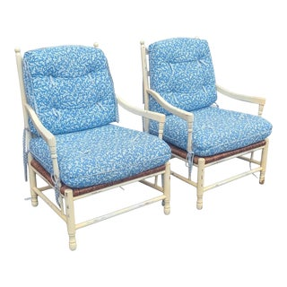 Pair Wide Custom Made Paint Distressed Country Ladder Back Armchairs W/ Caned Seat ~ Calico Corners For Sale