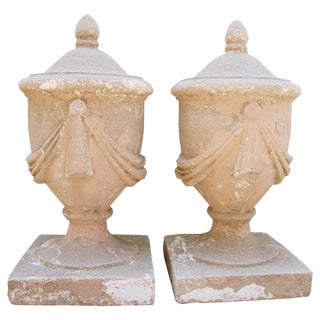 Large Estate Concrete Garden Finials - Pair For Sale