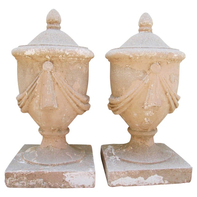 Large Estate Concrete Garden Finials - Pair - Image 1 of 11