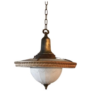 Early 20th Century Layered Milk Glass and Brass Foyer Pendant Light For Sale