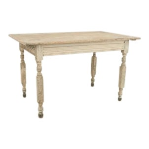 19th Century American Country light grey painted dining (work) table For Sale