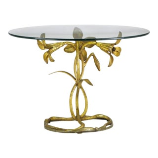 1960s Art Nouveau Arthur Court Gilded Lily Side Table For Sale