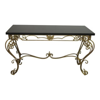 1950s Vintage Gold Leaf Wrought Iron Console Table For Sale