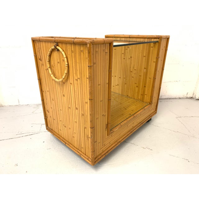 1970s Mid Century Split Reed Rattan Bar Cart For Sale - Image 5 of 9