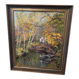 """1960s """"House in the Woods"""" Forest Landscape Painting by H. Gamp Huber, Framed For Sale"""