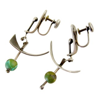 Ed Wiener Turquoise Sterling Silver Abstract Modernist Earrings For Sale
