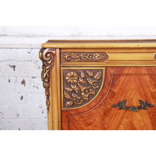 Romweber French Provincial Louis XV Burled Mahogany Highboy Dresser For Sale In South Bend - Image 6 of 13