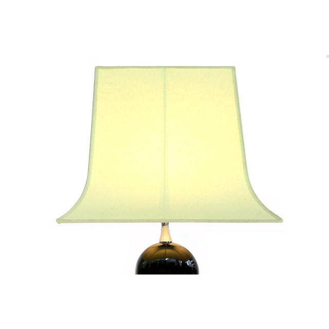 Mid-Century Modern Pair of Philippe Barbier Green Table Lamps For Sale - Image 3 of 6