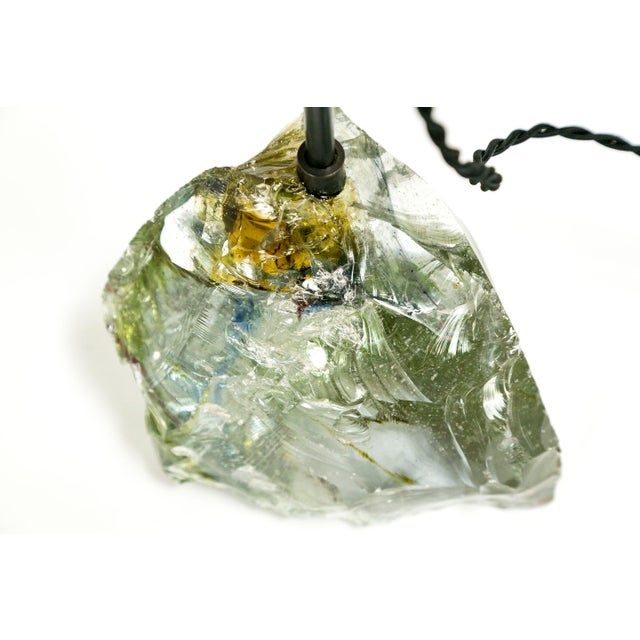 Black Amber Sea Green & Clear Cullet Glass Rock Lamp For Sale - Image 8 of 9