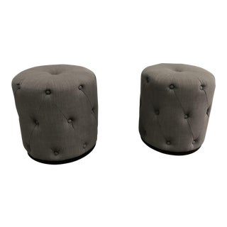West Elm Grey Fabric Ottomans - a Pair