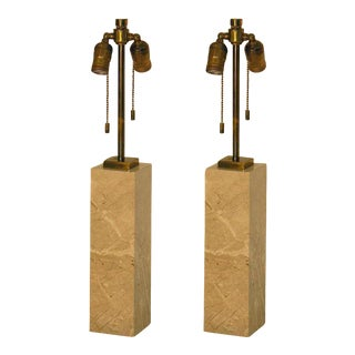 T.H. Robsjohn-Gibbings for Hansen Marble Table Lamps - a Pair For Sale