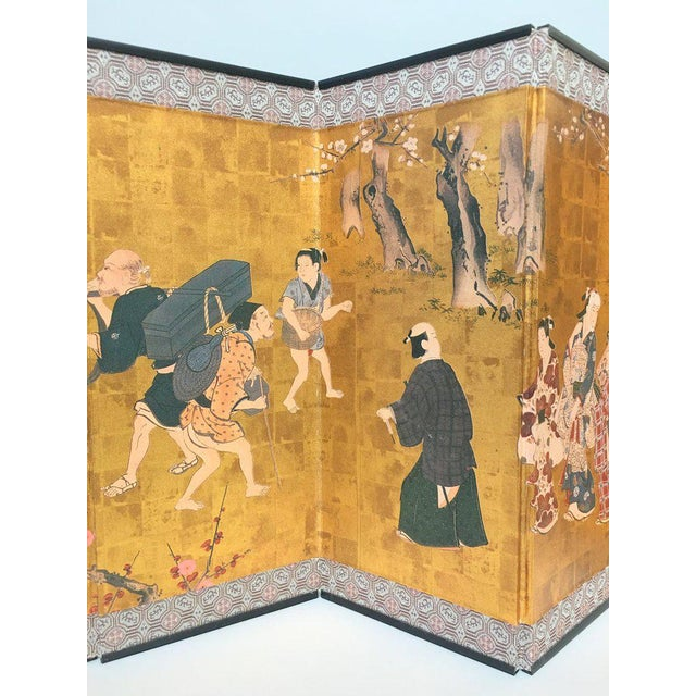 Asian Vintage 1970s Chinese Gold Table or Desk Top Folding Screen For Sale - Image 3 of 11