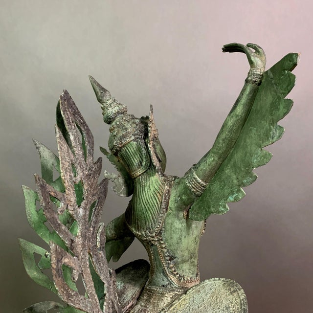 """1900 - 1909 Early 1900s Mythologic Kinnaris 30"""" Bronze Statue, Thailand For Sale - Image 5 of 12"""