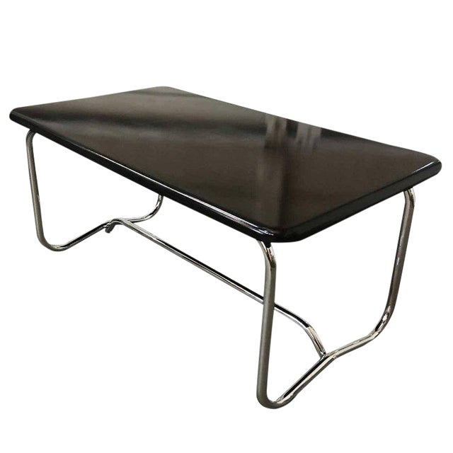 Deco Chrome Coffee Table: Luxury Wolfgang Hoffmann Style Art Deco Chrome And Black