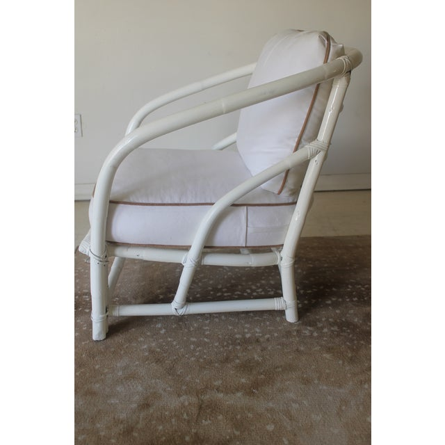Vintage Mid Century White Bamboo Chairs - a Pair For Sale - Image 9 of 12