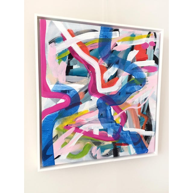 Original painting by contemporary artist Jessalin Beutler. Acrylic on stretched canvas with its own white floater frame....