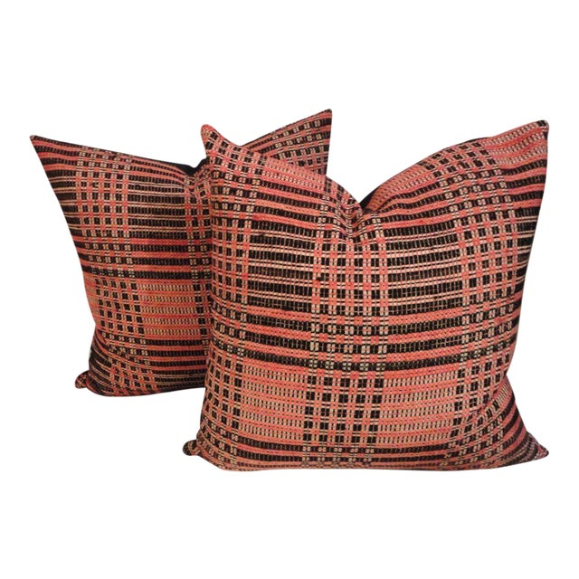 Pair of Hand Woven 19thc American Jacard Woven Coverlet Pillows For Sale