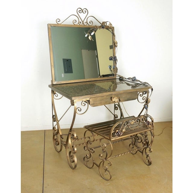 Wrought Iron Vanity & Mirror With Granite Table Top , Floral Accents & Coordinating Bench For Sale - Image 13 of 13