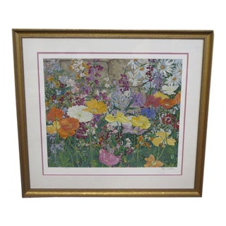 Traditional John Powell Signed Floral Serigraph For Sale