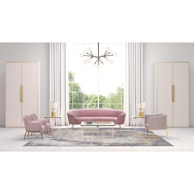 Metal Pasargad Home Sorrento Lorenzo Velvet Sofa in Pink For Sale - Image 7 of 9