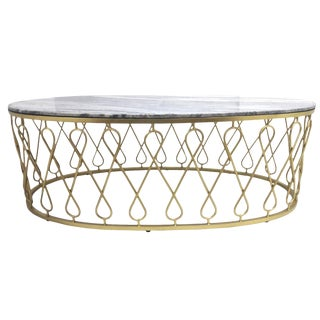 Iven Coffee Table, Marble Top, Contemporary Style, Iron Coffee Table, Oval Shaped Accent Furniture, Living Room- Natural For Sale