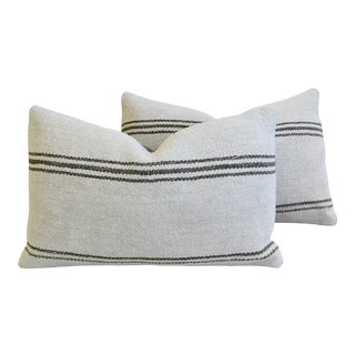 "Organic Hemp & Cotton Turkish Kilim Feather/Down Pillows 27"" X 18"" - Pair For Sale"