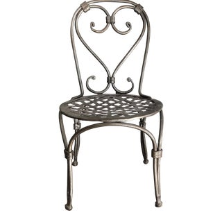 Aged Nickel Tone Miniature Decorative Chair For Sale