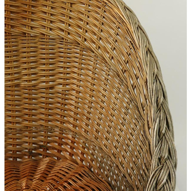 Mod Bar Harbor Style Woven Wicker Settee For Sale In New York - Image 6 of 13