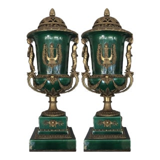 1960s Louis XVI Style Gilt Bronze Mounted Urns - a Pair For Sale