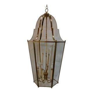 Large French Polish Brass Lantern, 1950 For Sale