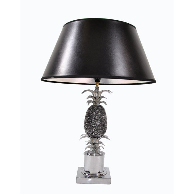 Maison Charles Chrome & Nickel Pineapple Table Lamp French Provincial 1960s For Sale - Image 9 of 10
