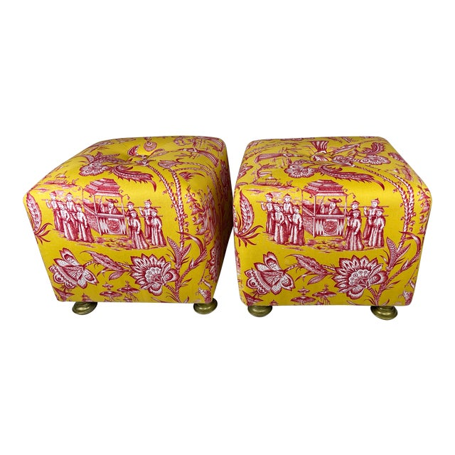 Late 20th Century Vintage Chinoiserie Pouf Footstools with Brass Feat - a Pair For Sale