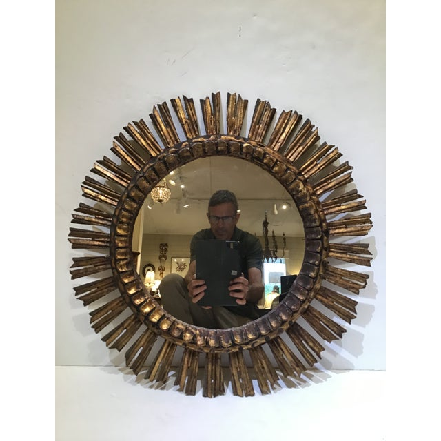 Glass 1960s Mid-Century French Sunburst Mirror For Sale - Image 7 of 7