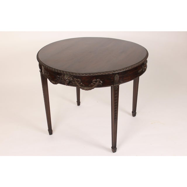Neoclassical English Neo Classical Style Mahogany Center Table For Sale - Image 3 of 13