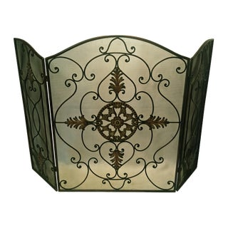 Mid 20th Century European-Style Tri Fold Fireplace Fire Screen With Design For Sale