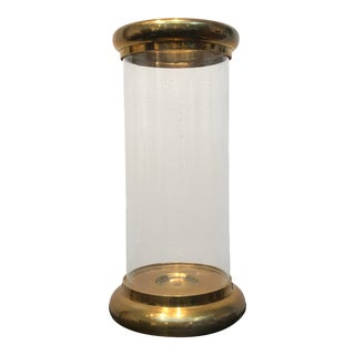 1980s Vintage Chapman Brass and Glass Hurricane Candle Holder For Sale