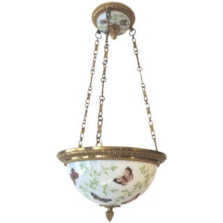 Superb Antique French Butterfly Motife Milk Glass and Brass Light Fixture For Sale