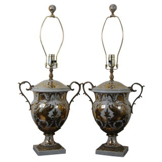 Currey & Co Tzarina Antique White Gold Porcelain Swan Trophy 6410 Table Lamps - a Pair For Sale