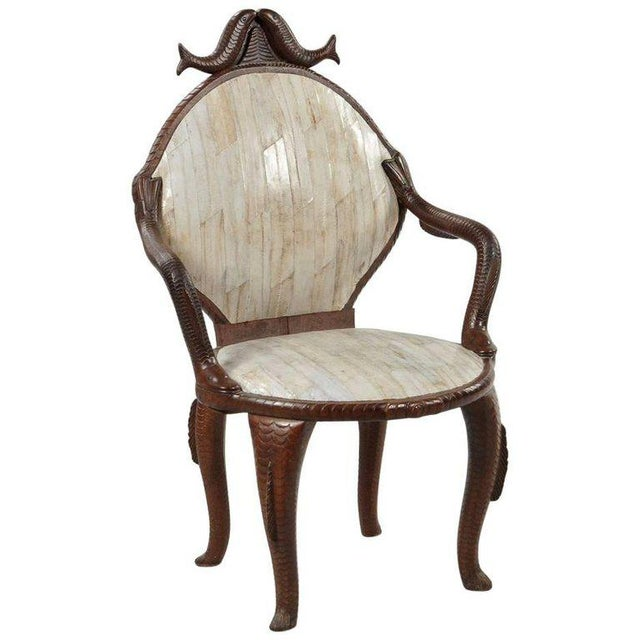 19th Century Fish Carved Arm Chair with Eel Skin Upholstery - Image 11 of 11